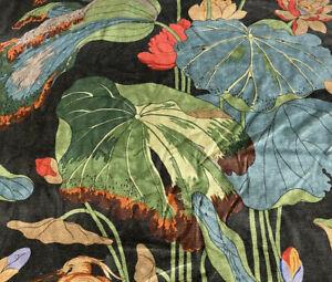 GP & J Baker Botanical Bird Fabric- Nympheus Velvet / Charcoal 0.45 yd BP10814.3