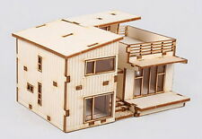 Modern House Terrace Wooden House Model DIY Style Kit Set Western-Type Package