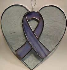 Purple Support Ribbon Heart Shaped Suncatcher