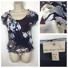 FENN WRIGHT MANSON Ladies Top Size 10 Layered Devore Blur Floral 60% Silk