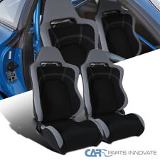 Black/Gray Cloth Material Fully Reclinable Sport Racing Seats w/ Slider Rail 2PC