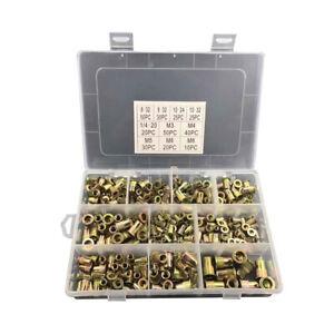 300 pcs Zinc SteelRivet Nut Kit Rivnut Nutsert Assort 150pcs Metric+150pcs SAE