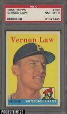 1958 Topps #132 Vernon Law Pittsburgh Pirates PSA 8 NM-MT