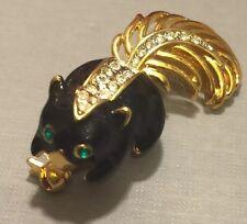 Adorable Vintage Skunk Brooch In Black Enamel On Gold Tone Metal With Crystals