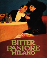 POSTER BITTER PASTORE MILANO ITALIAN COUPLE DRINKING VINTAGE REPRO FREE S/H