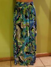 Vintage 1970's De Paul New York Blue & Green Psychedelic Hippie Maxi Skirt M
