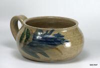 Blue Moon Pottery Stoneware Blue Glazed Vase Bowl Crock with Handle signed Rey