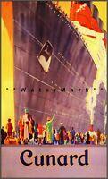 Cunard Ocean Liner 1920 SS Mauretania Vintage Poster Print Retro Style Ship Art
