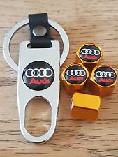 AUDI GOLD DUST VALVE CAPS CHROME SPANNER LIMITED ALL MODELS BOXED A4 TT R8 Q7