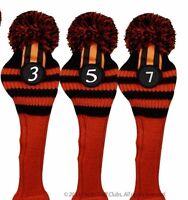 New 3 piece Halloween Black Orange Golf Pom Pom head cover headcover 3 5 7 Set