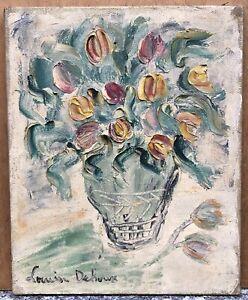 Tableau Huile Bouquet Fleurs Tulipes Vase Louis DEHOUX XXe