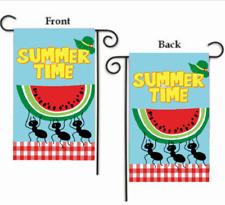 "SUMMER TIME WATERMELON ANTS 2-SIDED YARD GARDEN FLAG 12"" X 18"""