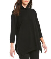 NEW Eileen Fisher Funnel Tencel Neck Tunic in Black - Size S #T1120