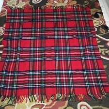 "Red Tartan Plaid Wool Throw Picnic Blanket 55"" x 49"""