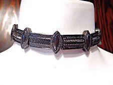 GUNMETAL BLACK BOHEMIAN CATS EYE CHOKER metal necklace gothic collar ornate 5E