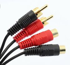 5m Phono Audio Extension Lead 2 RCA Male to Twin Phono Female Cable GOLD