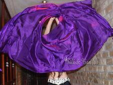 "plain purple 3yd*45"" belly dance silk veil+bag, light 5mm silk, edges rolled"
