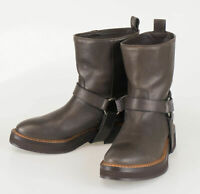 New BRUNELLO CUCINELLI Brown Leather Ankle Boots Shoes Size 36.5/6.5