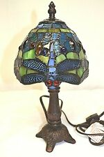 """Stained Glass 12"""" Dragonfly Accent Lamp"""