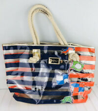 LILLY PULITZER Tote Beach Bag Striped Nautical Flags Clear PVC Rope Handles
