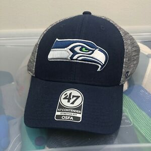 Seattle Seahawks 47 Brand Hat. New NWT Blue One Size Cap. NFL Football