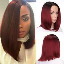 Synthetic Short Bob Hair Ombre Red Straight Wig Side Part Women Fashion Wigs