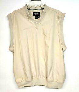 Eddie Bauer Golf Mens Vest Size Small Beige V-Neck Pockets Polyester Pullover
