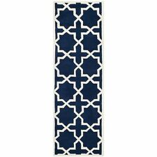 Hand-Tufted Safavieh Dark Blue/Ivory Wool Runner 2' 3 x 9'