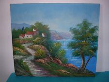Tableau, peinture huile sur toile, marine, paysage méditerranéen, signée