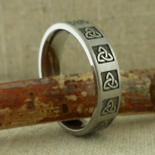 6 mm Wide Titanium Celtic Triny Knot Wedding Ring Band Made in Usa Size 11.5