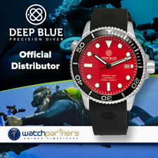 Deep Blue MASTER 1000M AUTOMATIC watch Black silicon strap & bezel Red dial