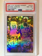 1991 UD Award Winner Michael Jordan MVP Hologram AW4 PSA 8