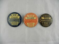 3 Vintage Pa. Resident Citizen's Fishing License Badges Pins 1951, 1952 & 1953