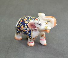 """2"""" Marble Elephant Color Hand Painted Handmade Arts Home Decorative Gifts H668"""