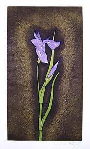 "JACQUES J. J. RIGAL Signed 1967 Original Color Etching - ""Iris Germanica"""