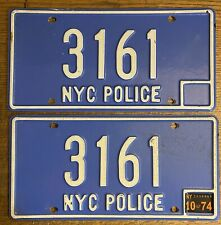 New York City Police Department Prop License Plate Movie NYC POLICE 3161 pair 74
