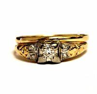 14k yellow gold .12ct VS G round diamond engagement ring & wedding band 2.3g