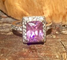Pink Emerald Cut Cubic Zirconia Sterling Silver Statement Engagement Ring