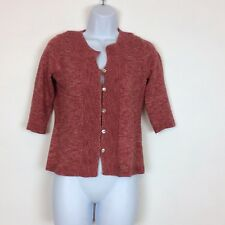 J Jill Women's Button Front Cardigan Size XXS Petite 3/4 Sleeve Red Cotton Blend