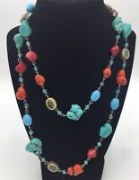 Southwest Turquoise  Beads Crystals Necklace Individually Attached Stunning!