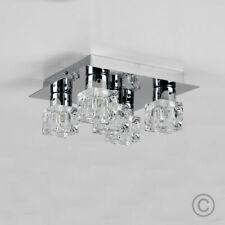 Minisun Modern Flush Ceiling Light Silver Chrome Glass Ice Cube 5 Way Fitting