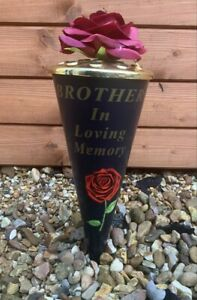 Red Rose Flower Cone Vase ' BROTHER ' Grave Memorial Ornament