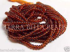 "7"" strand AAA HESSONITE GARNET gem stone smooth rondelle beads 3mm - 4.5mm"