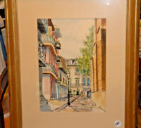 William Collins Listed Artist Original Watercolor Ink Framed Cityscape Art NICE!
