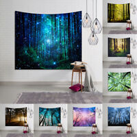 Seasonal Forest Trees Print Wall Painting Tapestry Hanging Cloth Home Decorative
