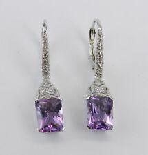 14K White Gold Diamond and Radiant Cut Amethyst Dangle Earrings February Gem