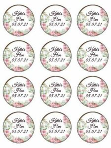 floral hen night hen do personalised edible printed cupcake Toppers Wafer icing