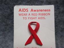 "AIDS Awareness Ribbon Lapel Pin NEW OLD STOCK 3/4"" Tall"