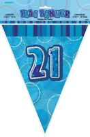 GLITZ BLUE FLAG BANNER 21ST BIRTHDAY 3.6M/12' BIRTHDAY PARTY PLASTIC BANNER