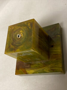 Vtg Translucent Green Swirl Bakelite Catalin Trophy Base(only) Pieces Parts